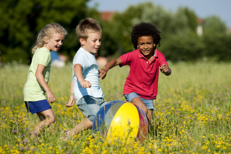 Image of children in the grass playing ball